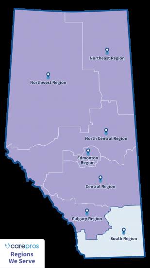 CarePros Regions We Serve Map